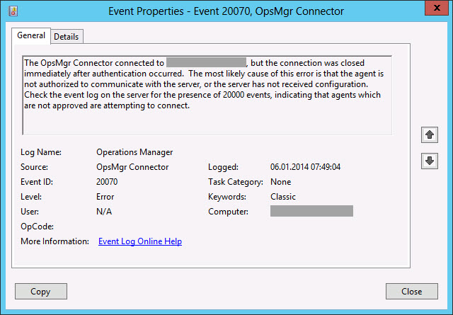 SCOM 2012 agent communication issue